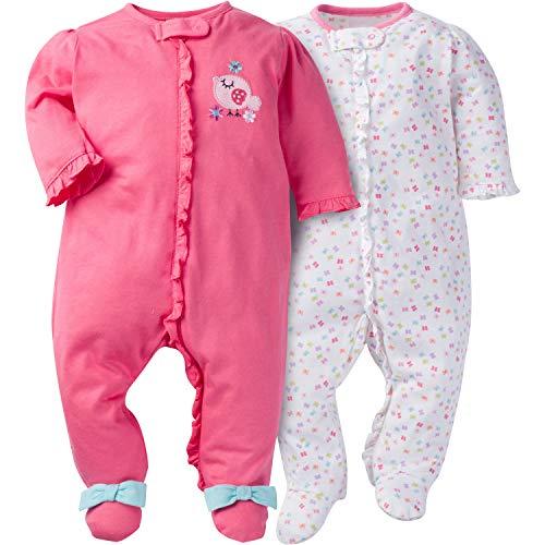 Halloween Face Zip Ideas (Gerber Baby Girls' 2 Pack Zip Front Sleep 'n Play,Birdie,0-3)