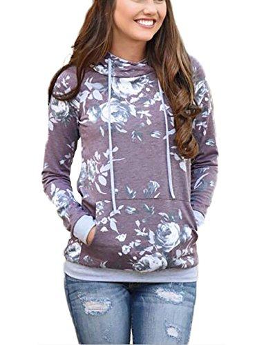Minipeach Women's Pullover Long Sleeve Hoodies Coat Loose Casual Sweatshirts with Pocket Purple