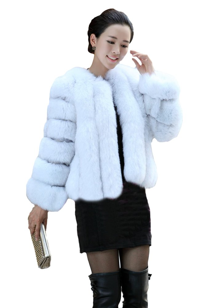Queenshiny New Style Women's Short Luxury 100% Real Fox Fur Coat Jacket-Natural-S(4-6)