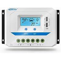 EPEVER® 10A Controlador de Carga Solar 12V/24V Identificación Automática Regulador con Pantalla LCD y Puertos USB - 10A