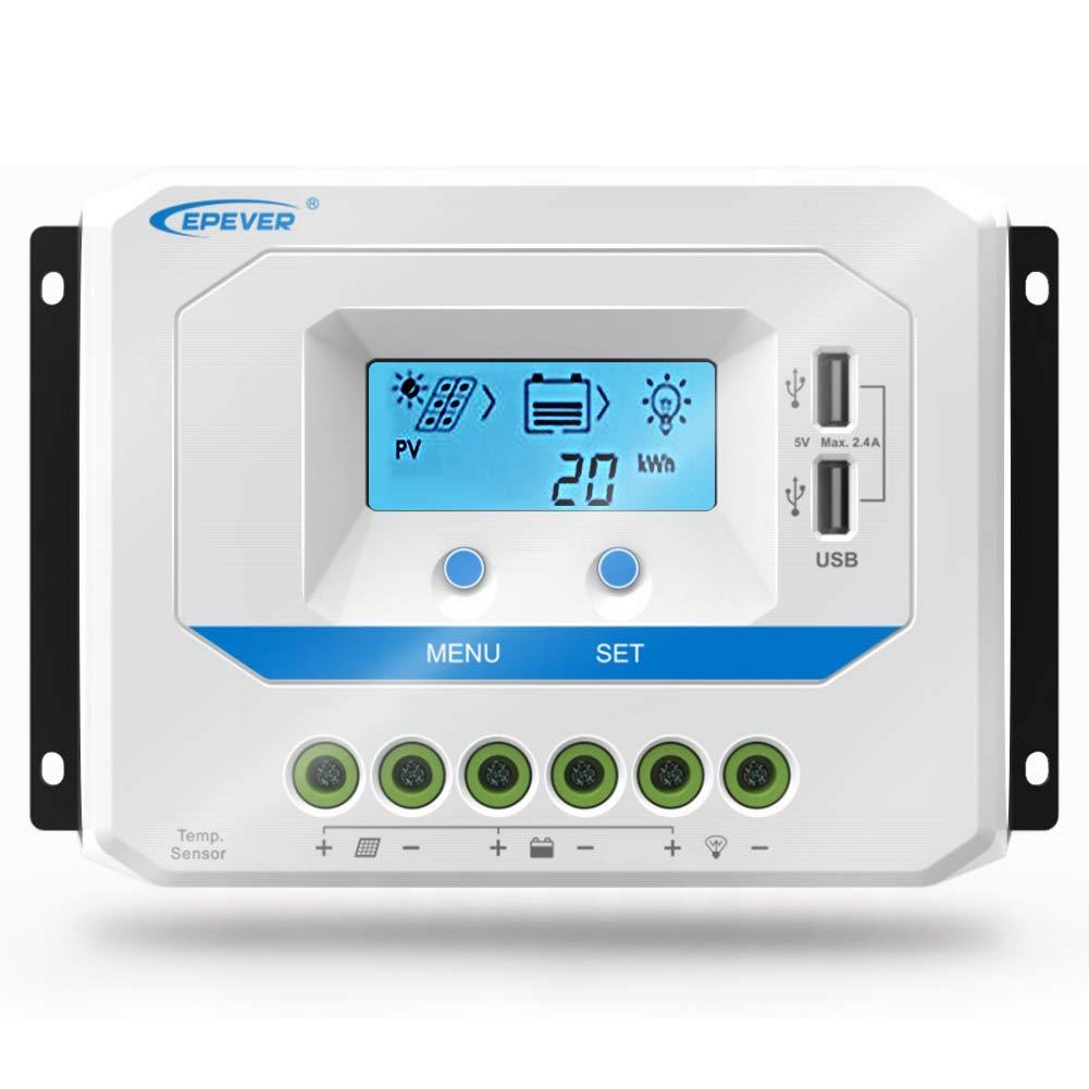 EPEVER® 20A Controlador de Carga Solar 12V/24V Identificación Automática Regulador con Pantalla LCD y Puertos USB - 20A