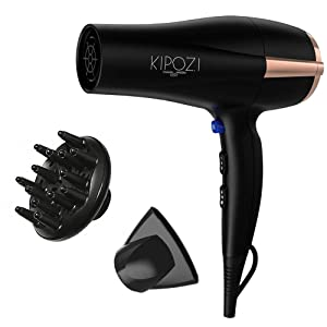 KIPOZI Pro 1875 W Negative Ions Hair Dryer Ceramic Fast Dry Lightweight Hair Blow Dryer with 2 Speed and 3 Heat Settings,Diffuser Concentrator &Cool shot button,Low Noise(Black)