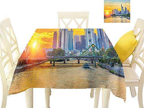 W Machine Sky Restaurant Tablecloth Wanderlust Frankfurt Sunset Architecture Landmark Skyscraper Vibrant Colors Waterfront W54 xL54 Suitable for Buffet Table, Parties, Wedding -