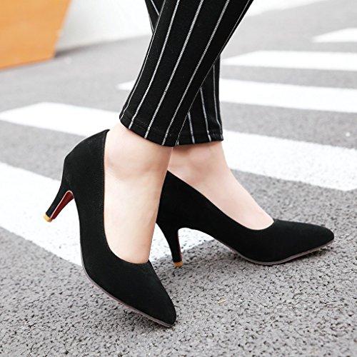 YE Damen Spitze High Heels Stiletto Pumps mit Absatz 8cm Elegant Kleid Schuhe Schwarz