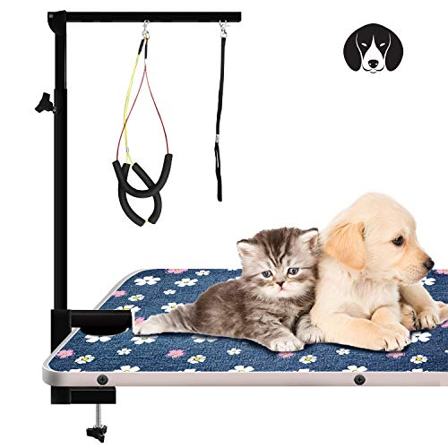 Urban Deco Pet Grooming Arm with Clamp Innovative Portable Two Grooming Arms – 41 inch Height Adjustable,Dog Grooming Loop and No Sit Haunch Holder for Large and Small Dogs,Cats