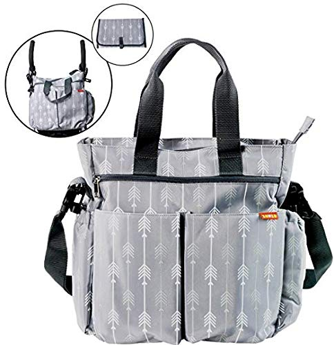 Designer Diaper Tote Bag with Changing Pad, Insulated Pockets, Wipes Pocket, Waterproof Material, Stroller Straps, and Shoulder Strap