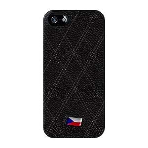 Elegante Funda de piel de bandera de República Checa–Bandera de Checoslovaquia Full Wrap Case Impreso en 3d gran calidad, para iPhone 5/5S de UltraFlags