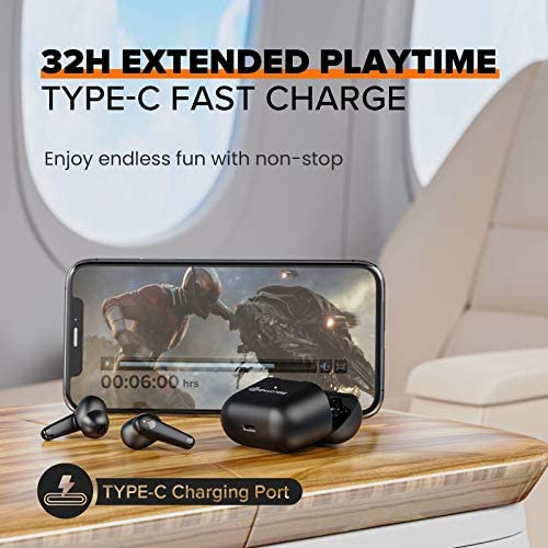 ENACFIRE A9 Active Noise Cancelling Wireless Earbuds Transparent Mode and four Mics Bluetooth Earbuds IPX7 Waterproof Bluetooth 5.0 Wireless Earphones Deep Bass and Stereo Sound Bluetooth Earphones