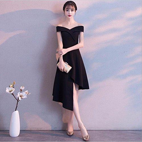 Black Moda Estilo a Femenina Nuevo Largo Vestido de Corto WBXAZL Frente de Hombro Longitud de Vestido Invierno Vestido Plazo Noche Corto Banquete wqPx1vUX