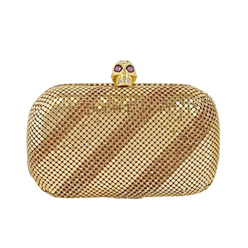 jnb-womens-metallic-mesh-crystal-stripe-skull-box-clutch-gold