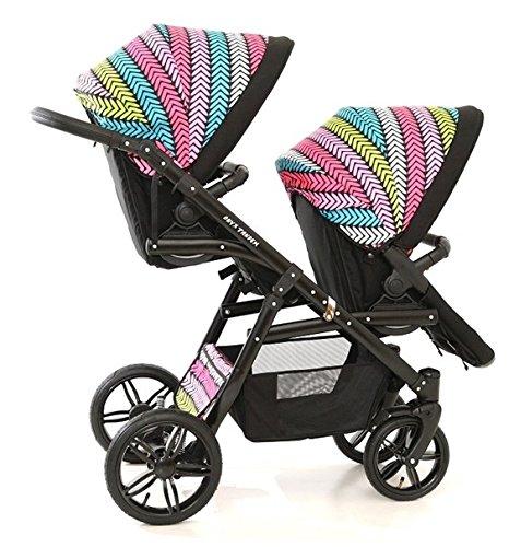 Coche gemelar doble (gemelar). Niños diferentes edades. 2 sillas + 1 capazo + accesorios. BBtwin. Multicolor: Amazon.es: Bebé