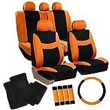 FH GROUP FH-FB030115 Combo Set: Light & Breezy Cloth Seat Cover Set Airbag & Split Ready W. FH2033 + F14403BLACK Carpet Floor Mats, Orange / Black- Fit Most Car, Truck, Suv, or Van