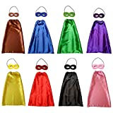 KOMODOMO Kids capes Cartoon Heros Dress Up Costumes 8 Satin Capes with Felt Masks