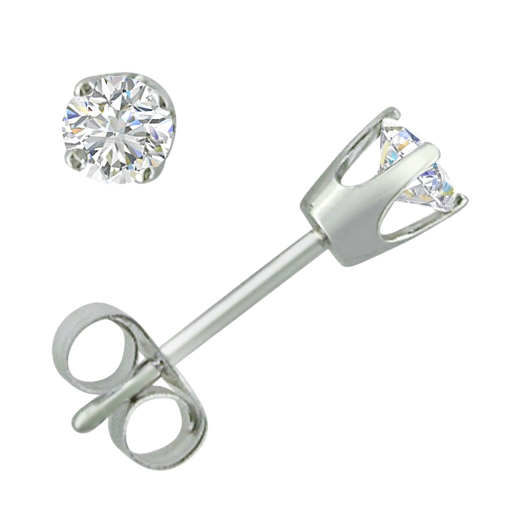 AGS Certified 1/4ct TW Round Diamond Stud Earrings in 14K White Gold