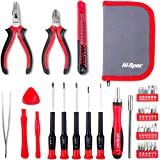 Hi-Spec 38 pcs Electronics Repair Tool Kit in Case - Magnetic Precision Ratcheting Screwdriver & Phillips, Slotted, Torx, Hex and Triwing/Head Bits Set, Lose Nose & Diagonal Pliers, Tweezers Pry Bar