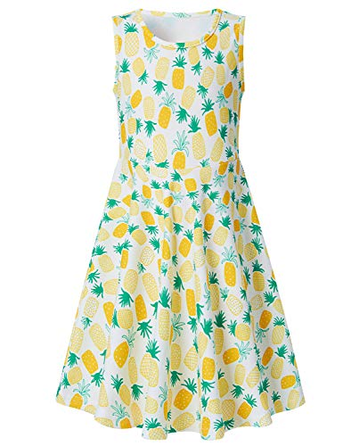 Funnycokid Grils Pineapple Dress Toddler Kids Sleeveless Summer Sundress Yellow 4-5 T