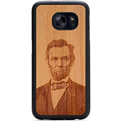Carved Abraham Lincoln Engraved Cherry Samsung Galaxy S7 Traveler Wood Case - Black Protective Bumper with Real All Wooden Cover Sales