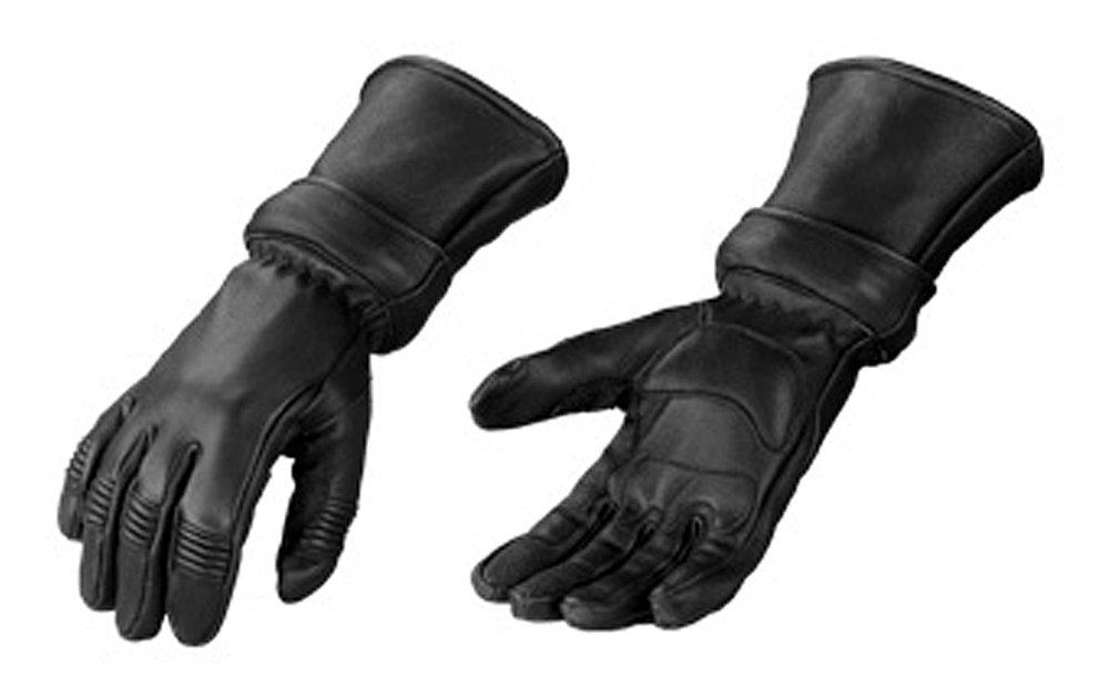Motorcycle Biker Black Deer Skin Leather Winter Gauntlet Gloves with Zip Off Cuff 2xl