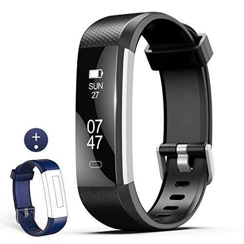 Fitness Tracker, Wesoo K1 Fitness Watch: Activity Tracker with Sleep Monitor, Smart Bracelet Pedometer Wristband with Replacement Band for Kids, Women and Men (Black+Blue Band)