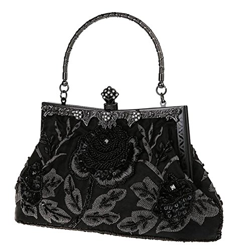 Bead Flora Party Purse Handbags Satin Women Wedding Black EPLAZA Evening Retro Clutch Bags fawgaqx