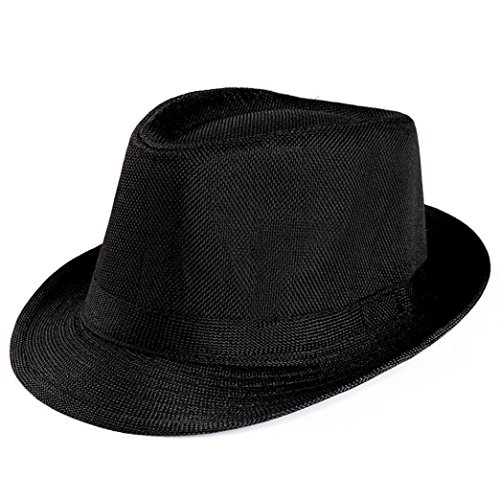 Summer Straw Panama Hat for Women and Men, Cleanrance! Iuhan Unisex Trilby Gangster Cap Beach Sun Straw Hat Band Sunhat Fedora Hat (Black)]()