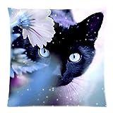 """Beautiful Black Cat Wear Flowers Custom Pillowcase 18"""" x 18"""""""