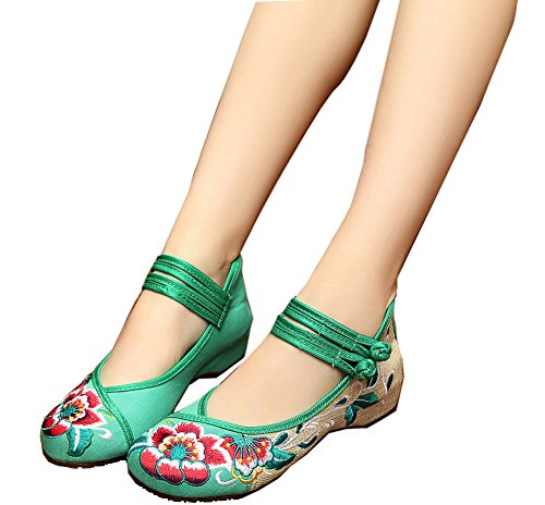 Womens Folk Style Shoes Rubber Sole Peony Embroidered Bride Flats(Green,41) (Bride Peony Style Dress)