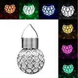 Colorful Solar Lights Glass Globe LED Hanging Lamp Crystal Ball Light Sparkling Outdoor Decorative Garden Lights Peacock Eye for Courtyard Garden Patio Lawn Street Landscape Tree