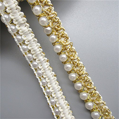 3 Meters Pearl Beaded Gold Thread Lace Edge Trim Ribbon 1.5cm Width Vintage Style Multi Edging Trimmings Fabric Embroidered Applique Sewing Craft Wedding Bridal Dress Party Decor Clothes Embellishment (Edging Gold)