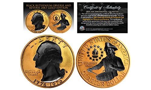 (24K GOLD Plated 2-Sided 1976 Bicentennial Quarter with Black RUTHENIUM Features)