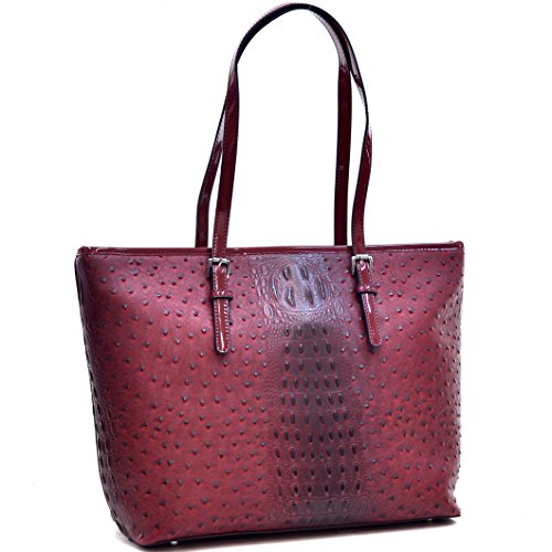 Dasein Women's Large Zip Top Multifunction Buckle Tote Bag Shoulder Purse Handbag 2591 Red