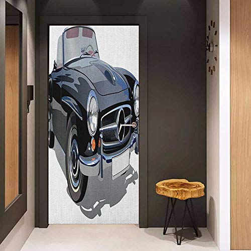 Onefzc Soliciting Sticker for Door Cars Classical Retro Vehicle Antique Convertible Prestige Old Fashion Revival Mural Wallpaper W23.6 x H78.7 Black Pale Grey ()