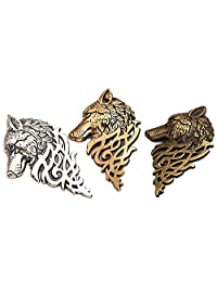 Charming Vintage Men Wolf Head Brooch Pin Badge for Jacket or Collar, Personalized Fashion Men 's Suits Buckle Neckwear Decoration - 3 Pack