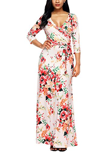Dokoll Women Wrap Casual Tie Floral Print Maxi Long Dress with (Dresses Floral Jersey Dress)