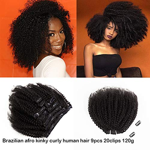 Saga Queen Brazilian Afro Kinky Curly Clip In Hair Extensions 9pcs 20clips 120g/pck Brazilian Virgin Human Hair Clip Ins (1 bundle 16inch, natural black) ()