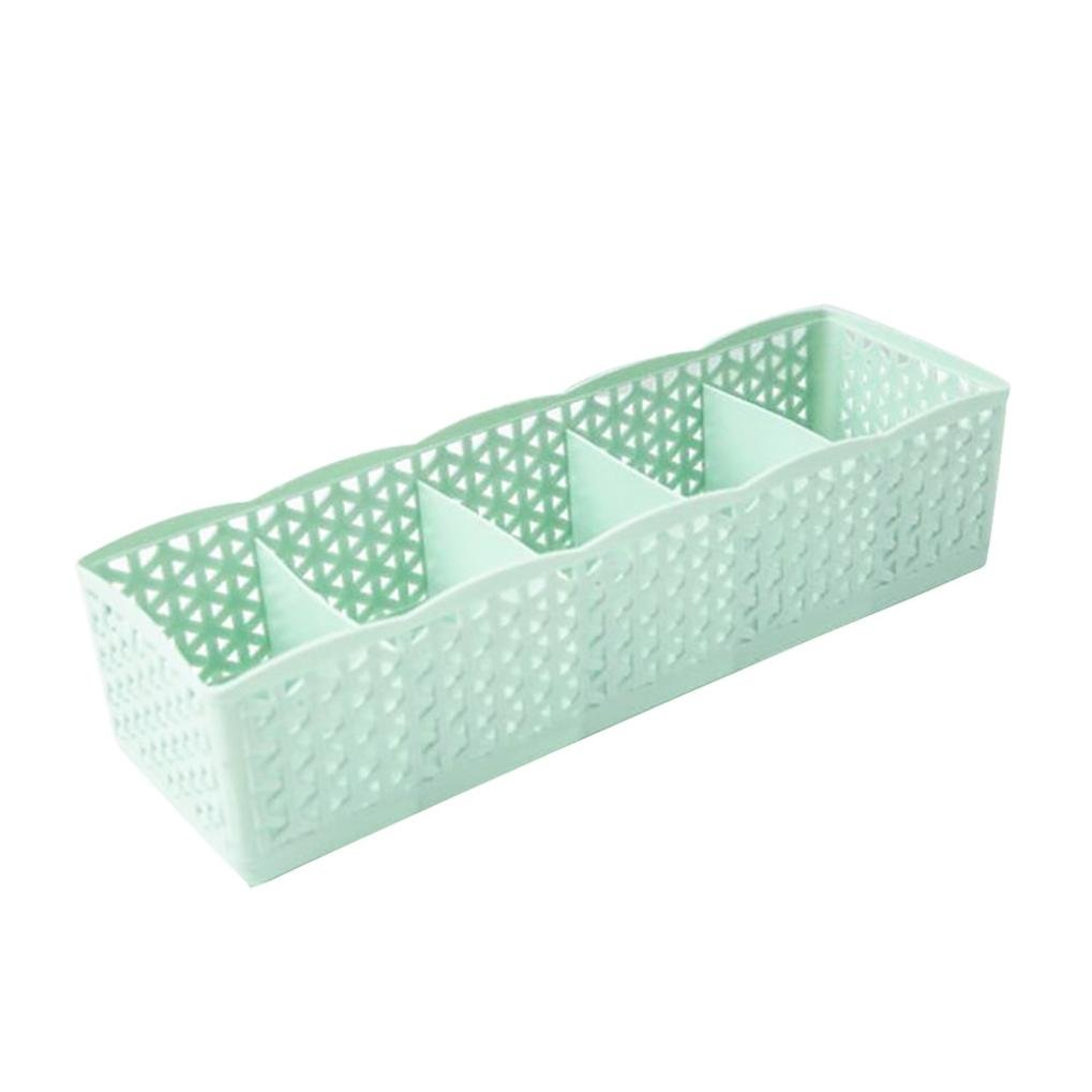Malloom 5 Cells Drawer Divider Household Storage for Tie Bra Underwear Socks Tights Scarves Cosmetic Organization (Green) by MALLOOM (Image #1)