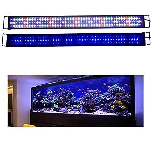 KZKR Aquarium LED Fish Tank Light 16-84 inch Remote Control Hood Lamp for Freshwater Saltwater Marine Full Spectrum Blue…