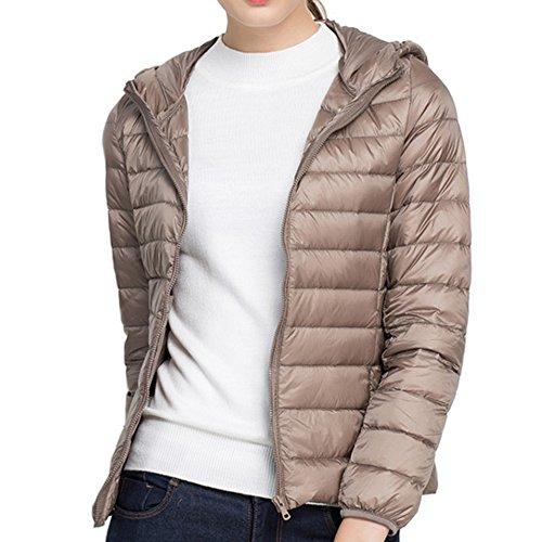 (ミラボルサ) MILA BORSA ダウンジャケット レディース 軽量 ウルトラダウン コート 山ガール 便利な収納袋付き (L, 1 ベージュ-フード付)