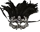 Silver Face with Black Feather Skull Masculine Greek & Roman Style Men Venetian Metallic Mask For Masquerade / Party / Ball Prom / Mardi Gras / Wedding / Wall Decoration