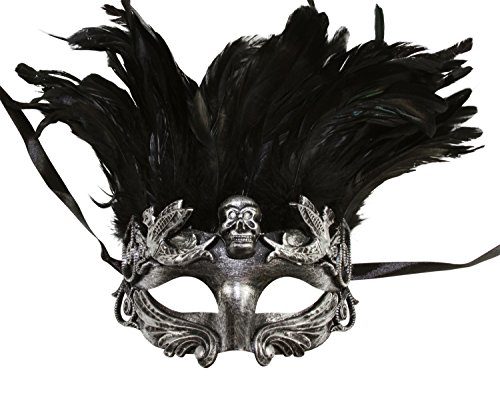 Metallic Skull Mask (Silver Face with Black Feather Skull Masculine Greek & Roman Style Men Venetian Metallic Mask For Masquerade / Party / Ball Prom / Mardi Gras / Wedding / Wall Decoration)