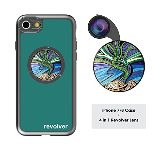Ztylus Designer Revolver M Series Camera Kit: 4 in 1 Lens with Case for iPhone 7/8 – Fisheye Lens, Wide Angle Lens, Macro Lens, CPL (Aurora Borealis)