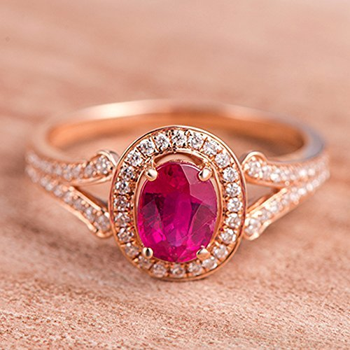 Oval Cut Ruby and Halo White Diamond Split Shank Wedding Engagement Bridal Ring in Rose Gold