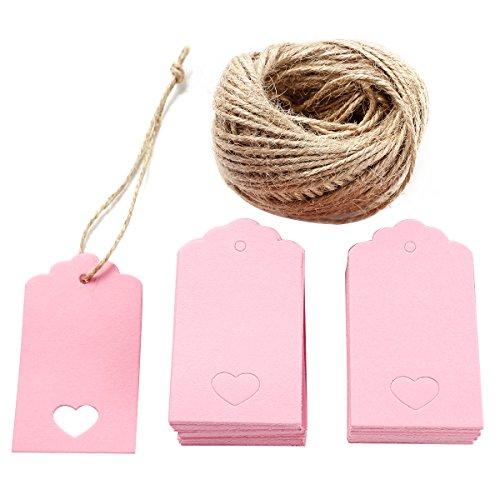 100 étiquettes cartes carton + ficelle jute tag feuille message voeux faveur cadeau anniversaire mariage prix noel rose