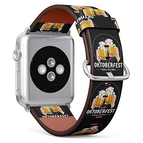 R-Rong iWatch Leather Replacement Strap Compatible with Apple Watch Series 4/3/2/1 Sport Edition 42/44mm - Beer Toasting Logo Badge Oktoberfest, Munich Beer Festival