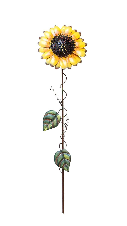 Waroom Home Sunflower Garden Stake, Metal Outdoor Yard Decor Patio Ornaments Flower Stake (21.5''H, Sunflower)