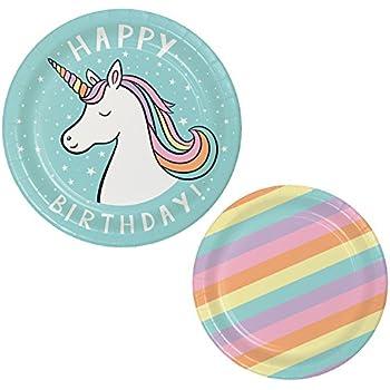 Unicorn Birthday Party Bundle For 10 Guests: 2 Items - Unicorn Happy Birthday Plates, Rainbow Pattern Dessert Plates