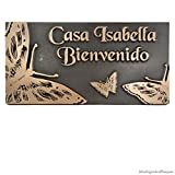 Wonderful Butterfly Memorial Plaque or Sign 16x8 - Raised Bronze Patina Metal Coated