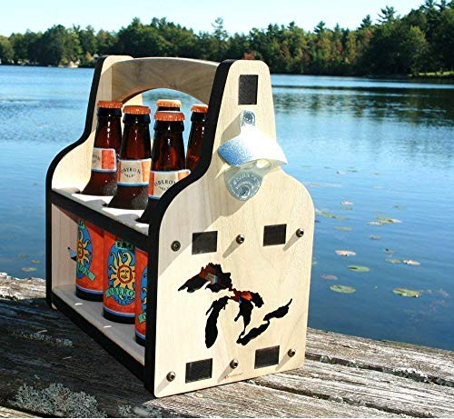 Wooden Beer Caddy with Beer Bottle Opener: Great Lakes, 6 Pack Holder