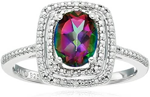 Sterling Silver Mystic Fire Topaz and Diamond Cushion Ring, Size 7