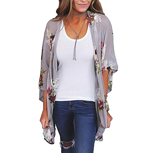TLTL Women Chiffon Loose Shawl Print Kimono Cardigan Top Cover up Blouse Beachwear (L, Gray)